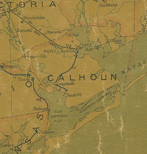 TX  Calhoun County 1907 Postal Map