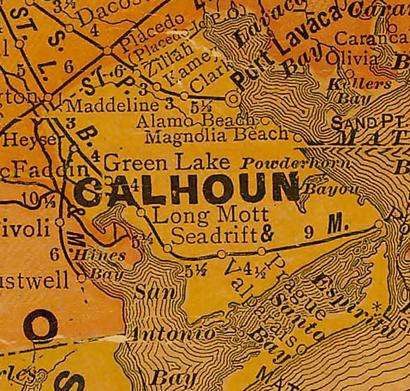 Calhoun  County Texas 1920s map