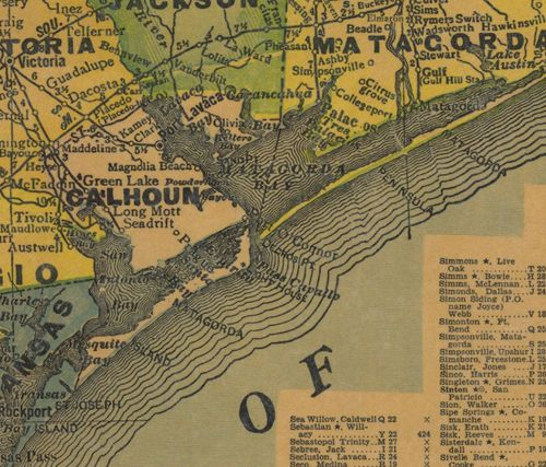 Calhoun   County Texas 1940s map
