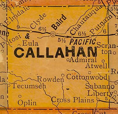 Callahan County TX 1920s map