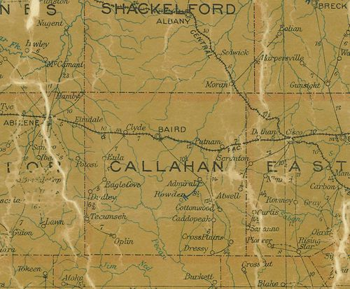 Callahan County TX 1907 psotal map
