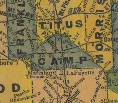 TX Camp  County 1940s Map