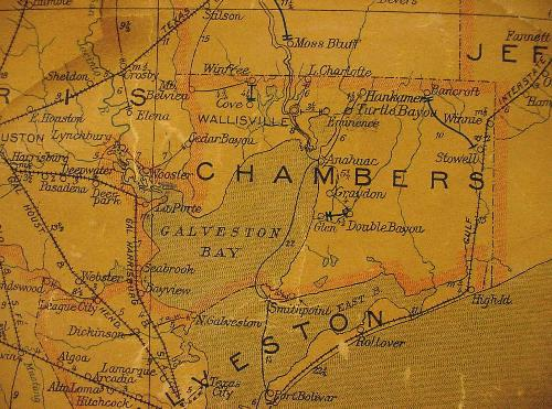 Chambers County Texas 1940s map