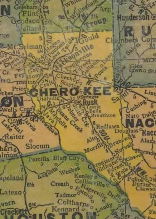 Cherokee County Texas 1940s map