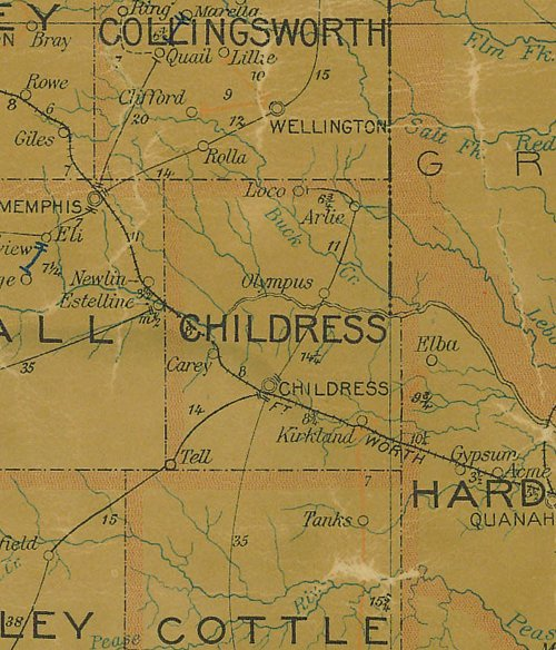 Childress County TX 1907 Postal Map