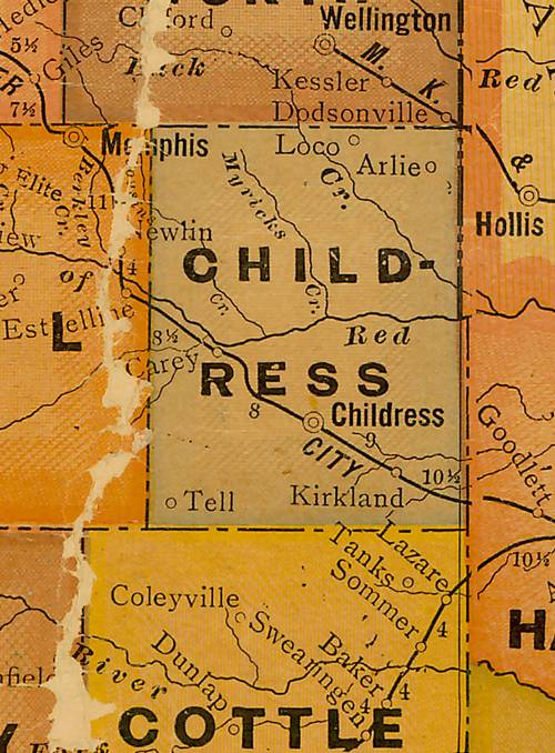 Childress County TX 1920s Map