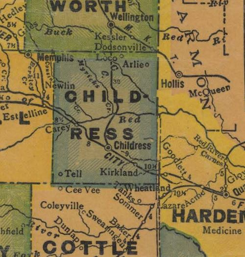 Childress County TX 1940s Map