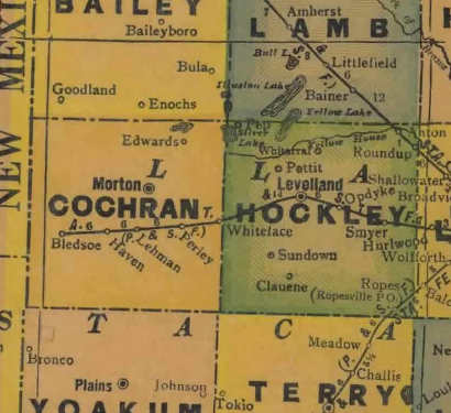 Cochran County Texas 1940s map