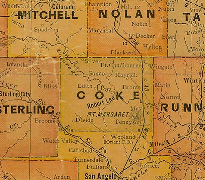 Map - Coke County Texas 1920