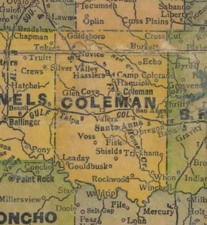 TX Coleman  County 1940s Map