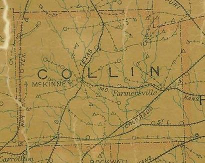 Collin County TX 1907 Postal Map