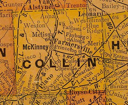 Collin County TX 1920s map