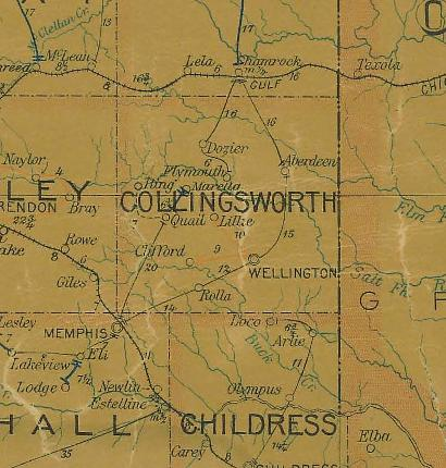 Collingsworth County Texas 1907 Postal map