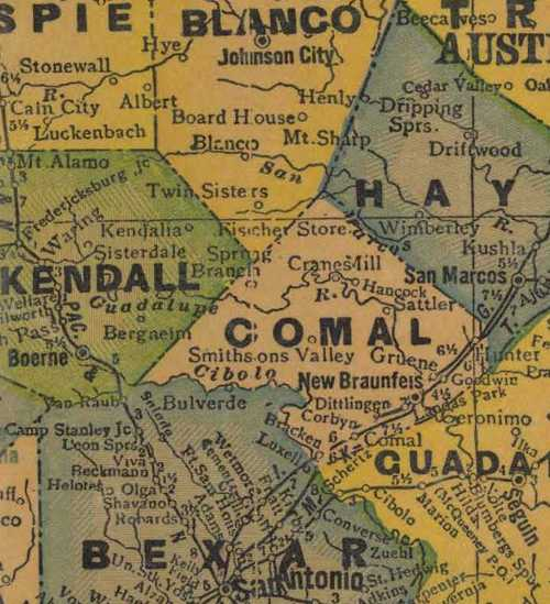 Comal County TX 1940s map