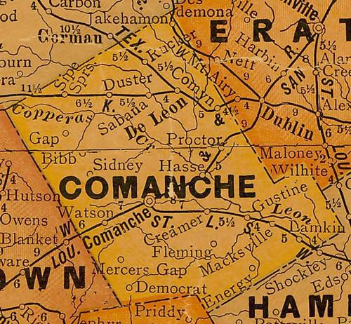 TX Comanche County 1920s Map