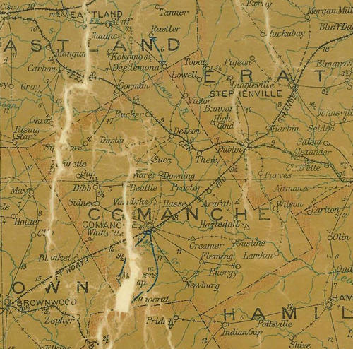 Comanche County TX 1907 Postal Map