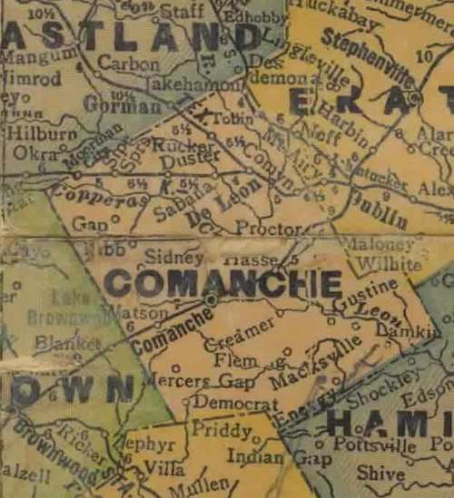 TX Comanche County 1940s Map