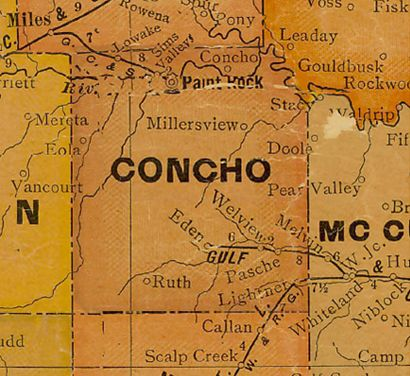 Concho County Texas 1920s map