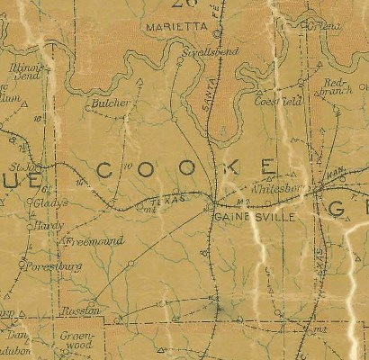 Cooke County TX 1907 postal Map