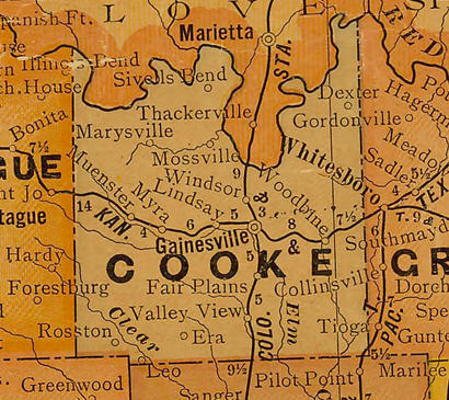 Cooke County Texas 1920s map