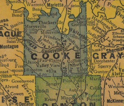 Cooke County TX 1940s Map