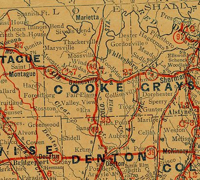 Cooke County Texas 1930s Map