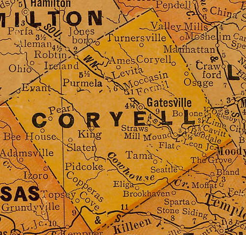 Coryell Count TX 1920 Map