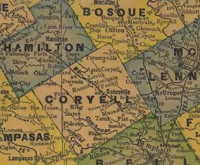 Coryell County Texas 1940s map