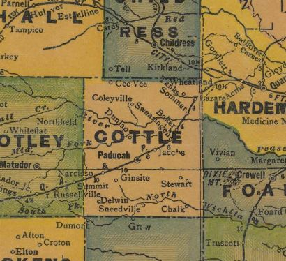 Cottle County Texas 1940s map