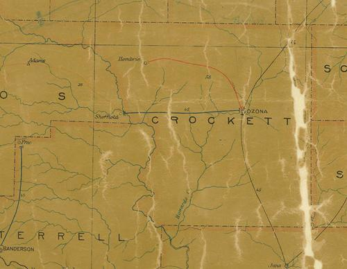 Crockett County TX 1907 postal map
