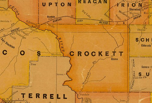 Crockett County TX 1920s map