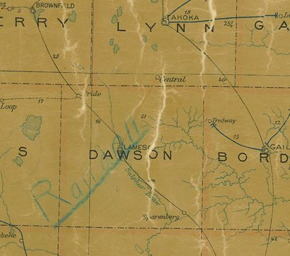 Dawson County TX 1907 postal map