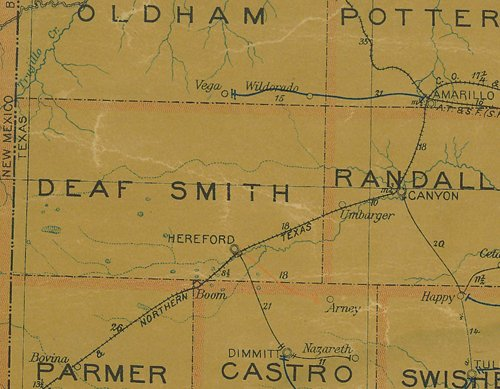 Deaf Smith County TX 1907 postal map