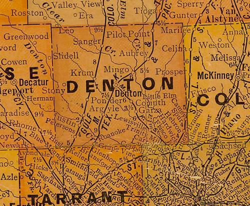 TX Denton County 1920s Map