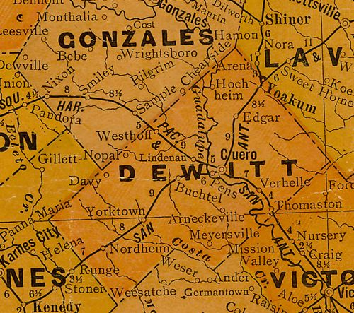 TX DeWitt County 1920s map