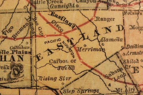 Eastland County Texas 1882 map