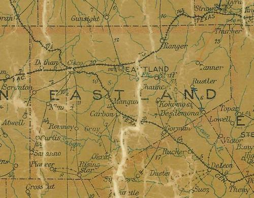 Eastland County TX 1907 Postal Map