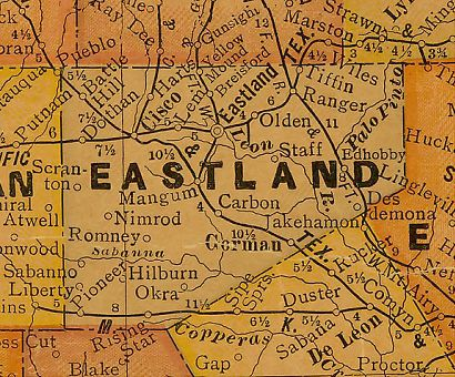 Eastland County Texas 1920s map