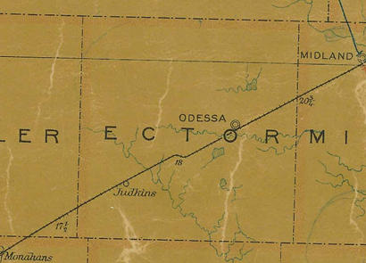 TX  Ector County 1907 Postal Map