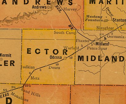 TX  Ector County 1920s Map