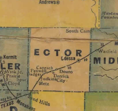 TX  Ector County 1940s Map