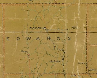Edwards County TX 1907 Postal Map