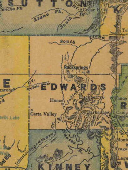 TX Edwards County 1940s Map