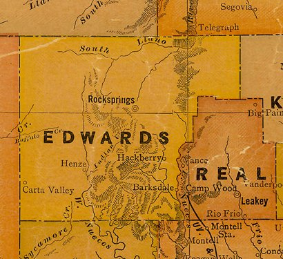 TX Edwards County 1920s Map