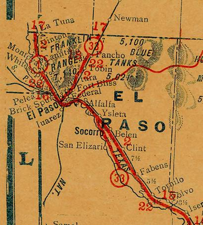El Paso County TX 1930s Highway Map