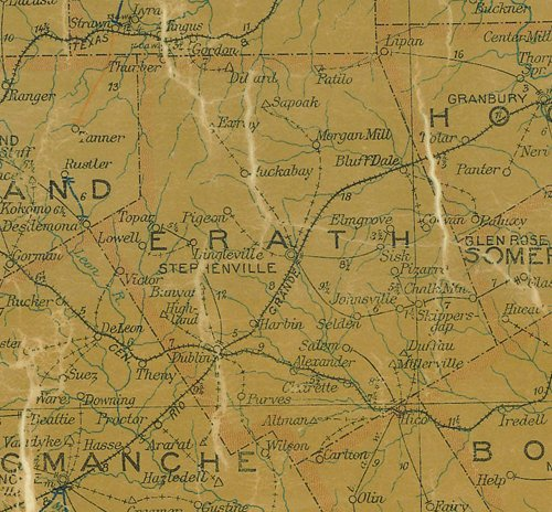 Erath County Texas 1907 map