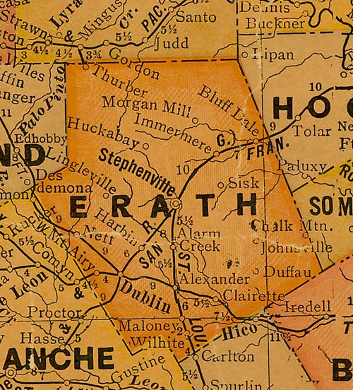 Erath County Texas 1920s map