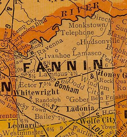 Fannin County TX 1920s map
