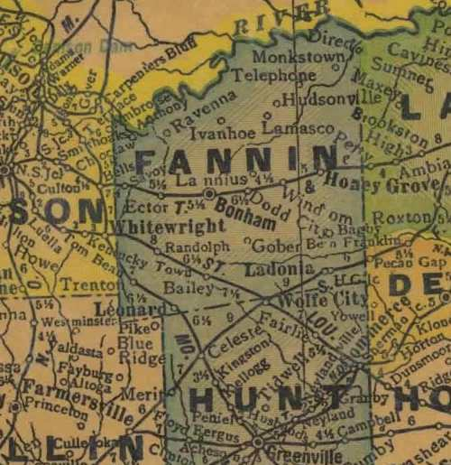 TX Fannin County  1940s Map