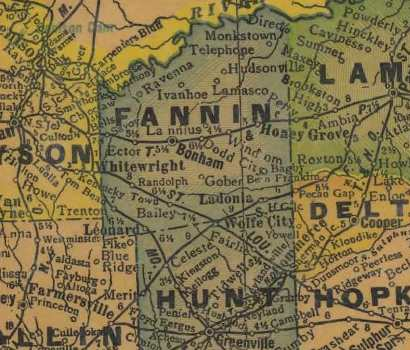 Fannin County Texas 1940s map